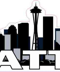 Blue Seattle Skyline Sticker