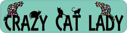 Green Crazy Cat Lady Bumper Sticker
