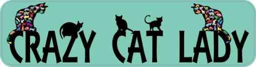 Green Crazy Cat Lady Bumper Sticker