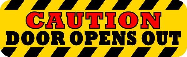 Caution Door Opens Out Sticker