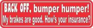 Red Back Off Bumper Humper Magnet