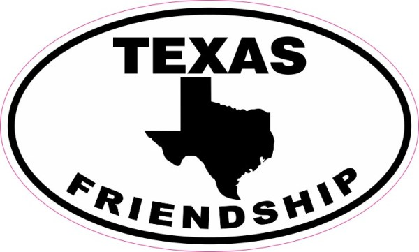 Oval Texas Friendship Sticker