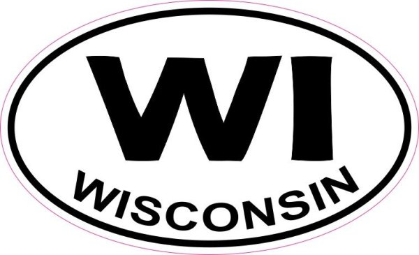 Oval WI Wisconsin Sticker