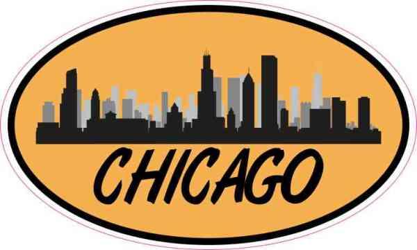 Orange Oval Chicago Skyline Sticker
