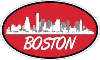 Red Oval Boston Skyline Sticker