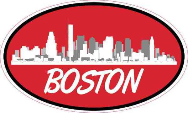 Red Oval Boston Skyline Sticker
