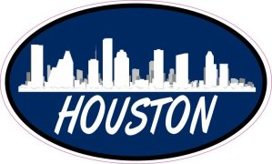Blue Oval Houston Skyline Sticker