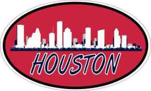 Patriotic Oval Houston Skyline Sticker