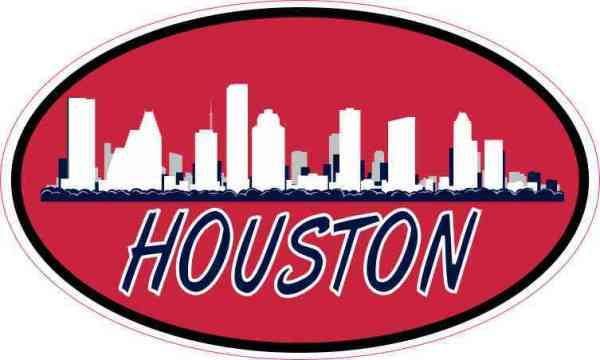 Patriotic Oval Houston Skyline Sticker