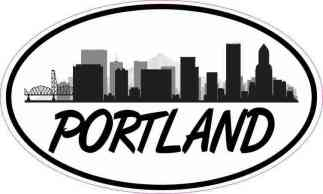 Oval Portland Skyline Sticker