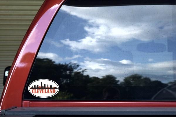 Red Oval Cleveland Skyline Sticker