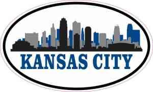 Blue Oval Kansas City Skyline Sticker