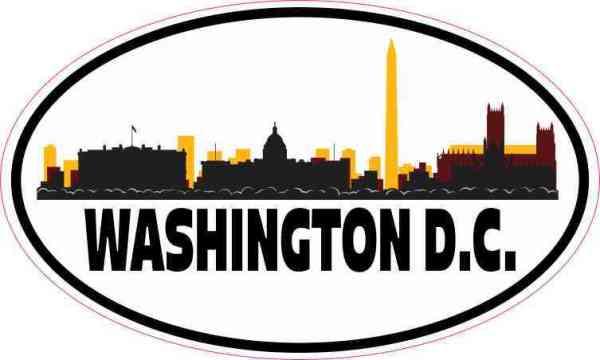 Burgundy and Gold Washington D.C. Skyline Sticker