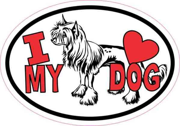 Chinese Crested Oval I Love My Dog Sticker