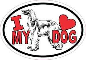 Afghan Hound Oval I Love My Dog Sticker