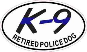 Oval Retired Police Dog Sticker