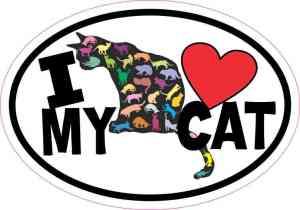 Oval I Love My Cat Sticker