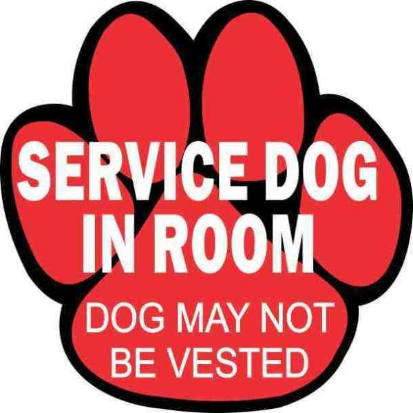 Service Dog in Room Sticker