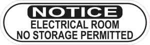 Oblong Notice Electrical Room Sticker