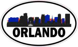 Patriotic Oval Orlando Skyline Sticker