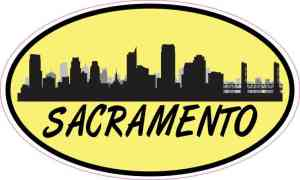 Yellow Oval Sacramento Skyline Sticker