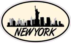 Yellow Oval New York Skyline Sticker