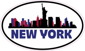 Patriotic Oval New York Skyline Sticker