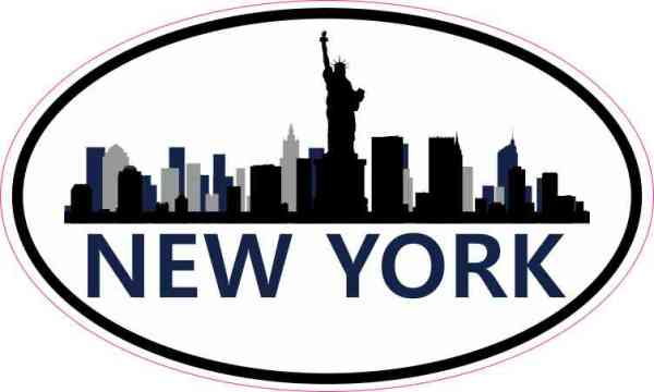 Navy Oval New York Skyline Sticker