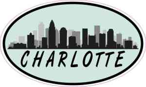 Green Oval Charlotte Skyline Sticker