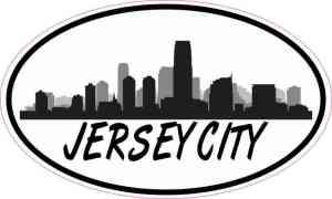 Oval Jersey City Skyline Sticker
