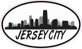 Oval Jersey City Skyline Sticker