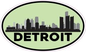 Green Oval Detroit Skyline Sticker
