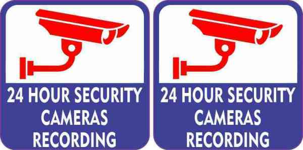 24 Hour Security Cameras Recording Stickers