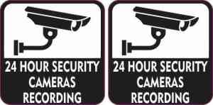 24 Hour Security Cameras Recording Stickers