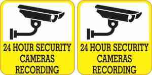 Yellow 24 Hour Security Cameras Recording Stickers