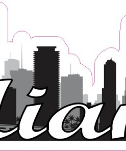 Script Miami Skyline Sticker