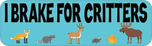 Blue I Brake for Critters Magnet