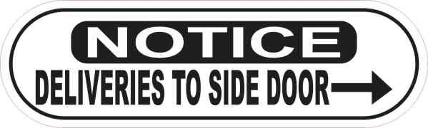 Oblong Right Arrow Deliveries to Side Door Sticker