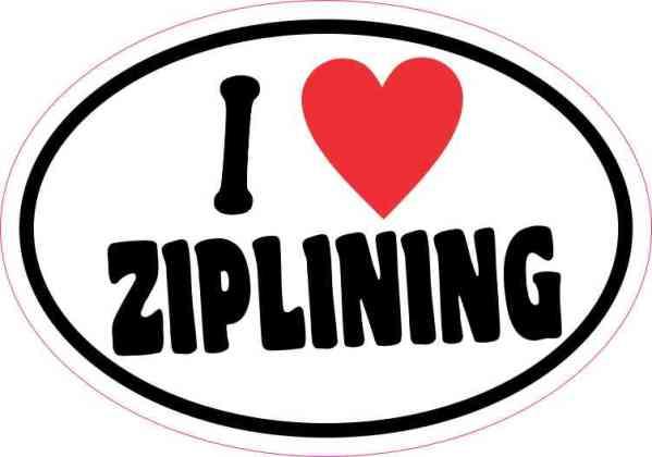 Oval I Love Ziplining Sticker
