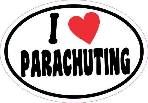 Oval I Love Parachuting Sticker