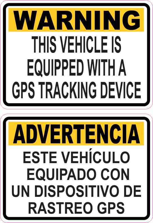 English Spanish GPS Tracking Stickers