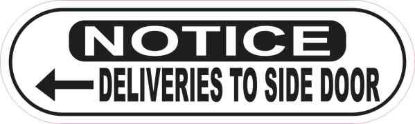 Oblong Left Arrow Deliveries to Side Door Sticker