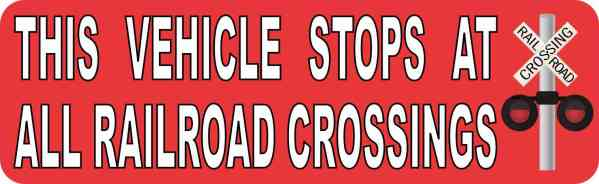 Red Symbol Vehicle Stops at All Railroad Crossings Magnet