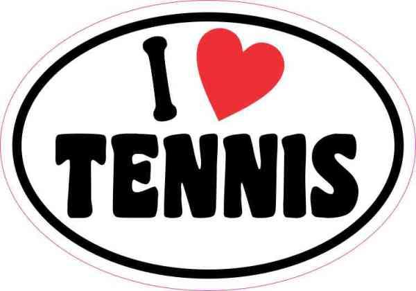 Oval I Love Tennis Sticker