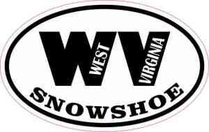 Oval WV Snowshoe Sticker