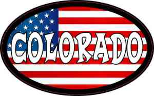 Oval American Flag Colorado Sticker