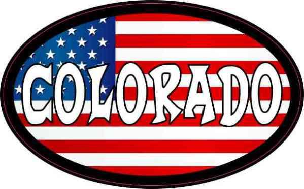 Oval American Flag Colorado Sticker