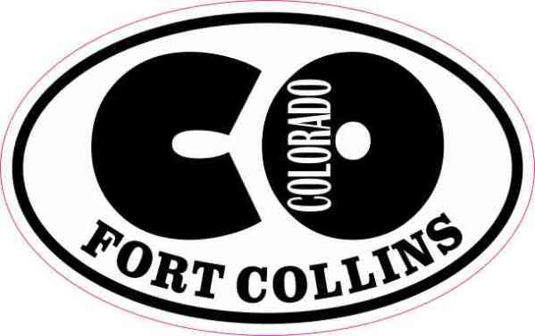 Oval CO Fort Collins Colorado Sticker