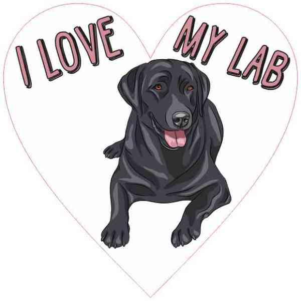 Heart I Love My Lab Sticker
