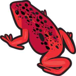 Red with Black Spots Frog Sticker